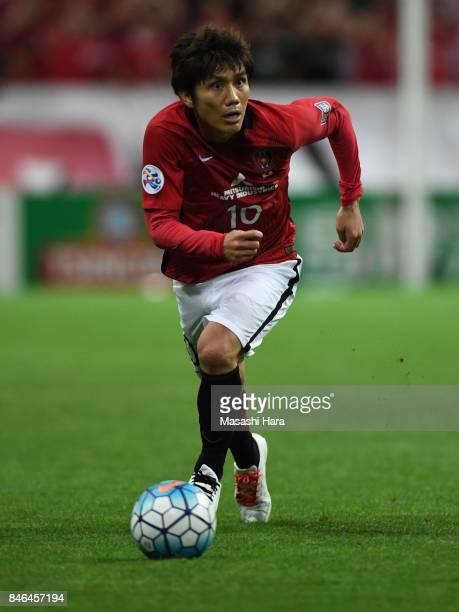 Yosuke Kashiwagi of Urawa Red Diamonds in action during the AFC Champions League quarter final second leg match between Urawa Red Diamonds and...