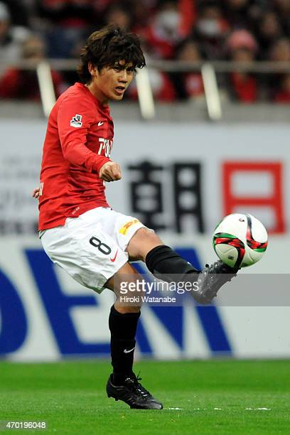 Yosuke Kashiwagi of Urawa Red Diamonds in action during the JLeague match between Urawa Red Diamonds and Yokohama FMarinos at Saitama Stadium on...