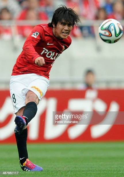 Yosuke Kashiwagi of Urawa Red Diamonds in action during the JLeague match between Urawa Red Diamonds and FC Tokyo at Saitama Stadium on May 3 2014 in...