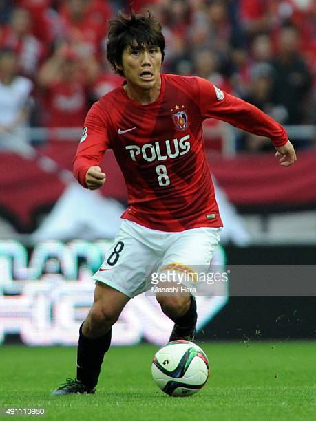 Yosuke Kashiwagi of Urawa Red Diamonds in action during the JLeague match between Urawa Red Diamonds and Sagan Tosu at Saitama Stadium 2002 on...