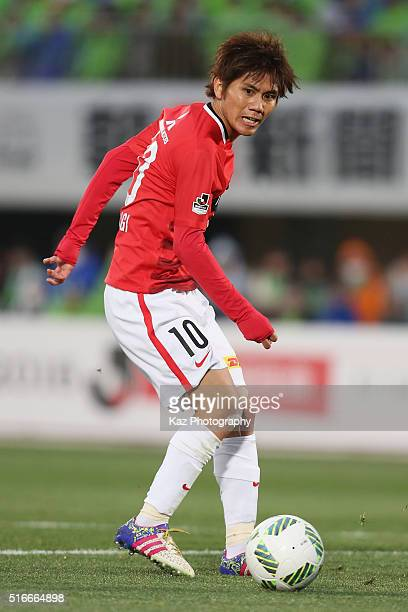 Yosuke Kashiwagi of Urawa Red Diamonds in action during the JLeague match between Shonan Bellmare and Urawa Red Diamonds at the Shonan BMW Stadium...