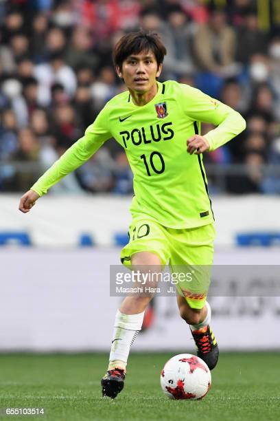 Yosuke Kashiwagi of Urawa Red Diamonds in action during the JLeague J1 match between Gamba Osaka and Urawa Red Diamonds at Suita City Football...