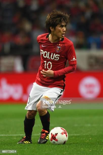 Yosuke Kashiwagi of Urawa Red Diamonds in action during the JLeague J1 match between Urawa Red Diamonds and Vegalta Sendai at Saitama Stadium on...