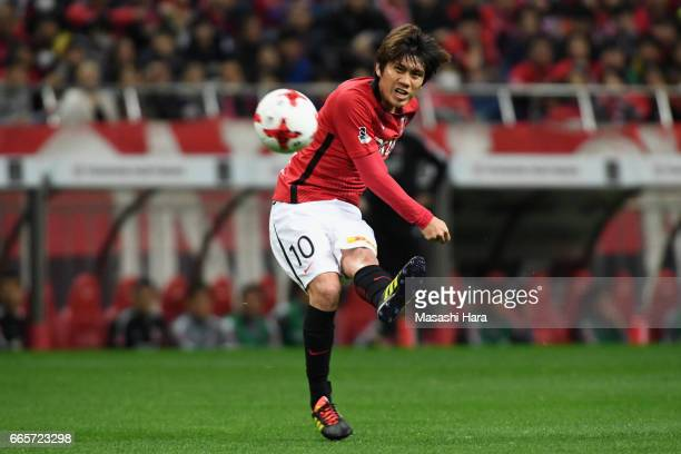 Yosuke Kashiwagi of Urawa Red Diamonds in action during the JLeague J1 match between Urawa Red Diamonds and Vegalta Sendai at Saitama Stadium on...
