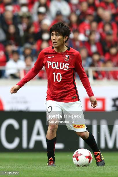 Yosuke Kashiwagi of Urawa Red Diamonds in action during the JLeague J1 match between Urawa Red Diamonds and Consadole Sapporo at Saitama Stadium on...