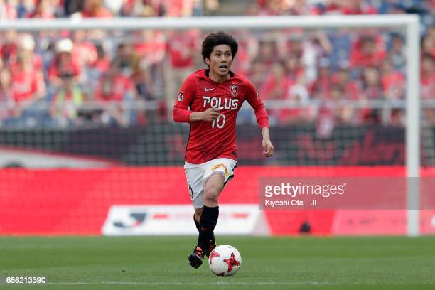 Yosuke Kashiwagi of Urawa Red Diamonds in action during the JLeague J1 match between Urawa Red Diamonds and Shimizu SPulse at Saitama Stadium on May...