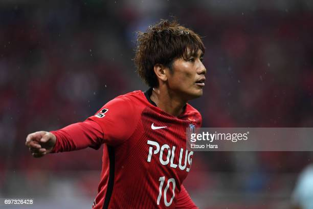 Yosuke Kashiwagi of Urawa Red Diamonds in action during the JLeague J1 match between Urawa Red Diamonds and Jubilo Iwata at Saitama Stadium on June...