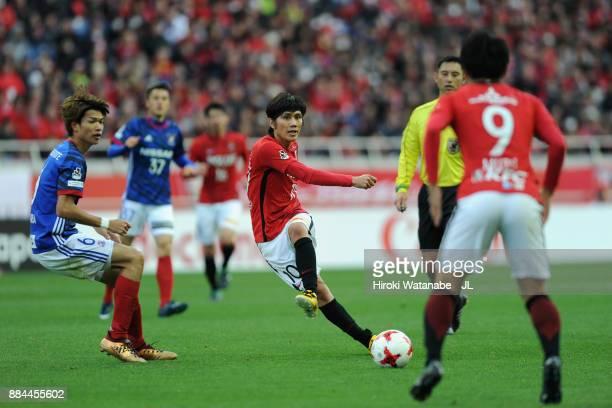 Yosuke Kashiwagi of Urawa Red Diamonds in action during the JLeague J1 match between Urawa Red Diamonds and Yokohama FMarinos at Saitama Stadium on...