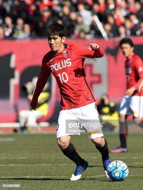 Yosuke Kashiwagi of Urawa Red Diamonds in action during the preseason friendly between Urawa Red Diamonds and FC Seoul at Urawa Komaba Stadium on...