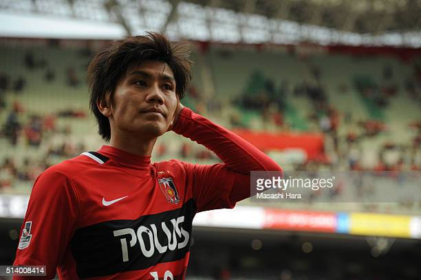 Yosuke Kashiwagi of Urawa Red Diamonds looks on after the JLeague match between Urawa Red Diamonds and Jubilo Iwata at Saitama Stadium on March 6...