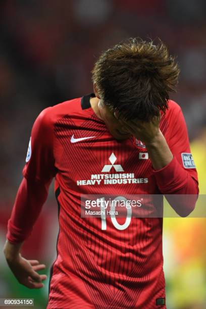 Yosuke kashiwagi of Urawa Red Diamonds looks on during the AFC Champions League Round of 16 match between Urawa Red Diamonds and Jeju United FC at...