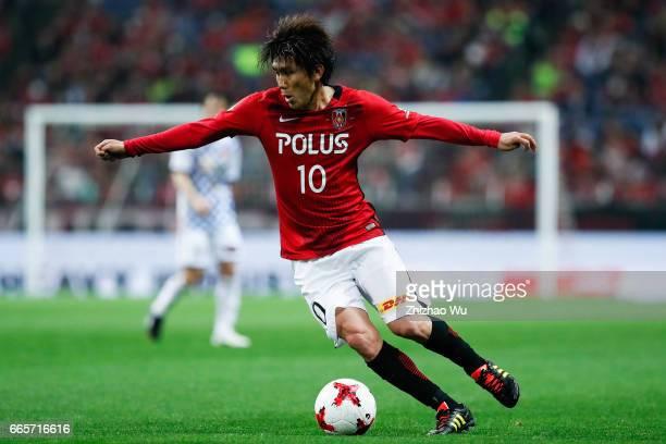 Yosuke KASHIWAGI of Urawa Red Diamonds reats during the JLeague J1 match between Urawa Red Diamonds and Vegalta Sendai at Saitama Stadium on April 7...