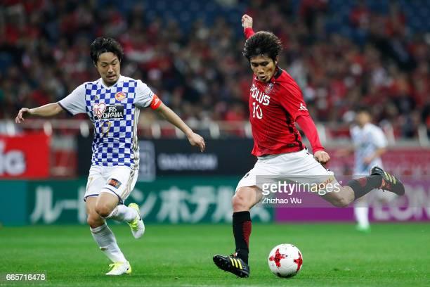 Yosuke KASHIWAGI of Urawa Red Diamonds shots during the JLeague J1 match between Urawa Red Diamonds and Vegalta Sendai at Saitama Stadium on April 7...