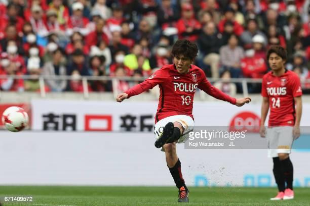 Yosuke Kashiwagi of Urawa Red Diamonds takes a free kick during the JLeague J1 match between Urawa Red Diamonds and Consadole Sapporo at Saitama...