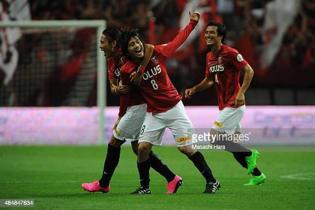 Yosuke Kashiwagi of Urawa Reds celebrates the first goal during the JLeague match between Urawa Red Diamonds and Vegalta Sendai at Saitama Stadium on...