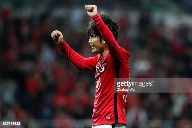 Yosuke KASHIWAGI Urawa Red Diamonds celebrates his scoring during the JLeague J1 match between Urawa Red Diamonds and Vegalta Sendai at Saitama...