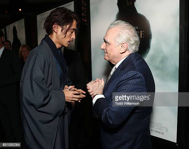Yosuke Kubozuka and Martin Scorsese attend the premiere of Paramount Pictures' 'Silence' at the Directors Guild Of America on January 5 2017 in Los...