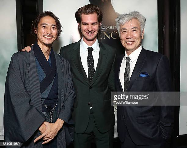 Yosuke Kubozuka Andrew Garfield and Issey Ogata attend the premiere of Paramount Pictures' 'Silence' at the Directors Guild Of America on January 5...
