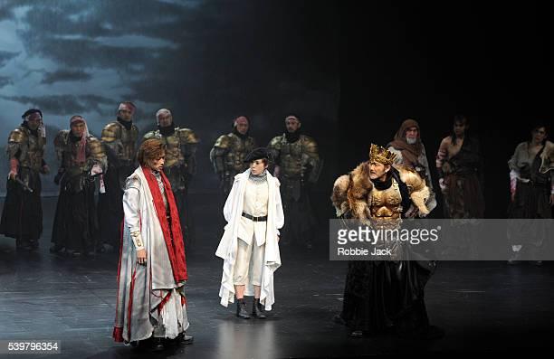 Yosuke Kubozuka as Iachimo Shinobu Otake as Imogen and Kohtaloh Yoshida as Cymbeline with artists of the company in the Ninagawa Company's production...