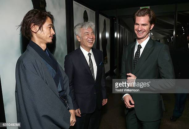 Yosuke Kubozuka Issey Ogata and Andrew Garfield attend the premiere of Paramount Pictures' 'Silence' at the Directors Guild Of America on January 5...