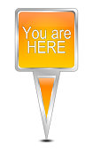 orange you are here map pointer – 3D illustration