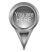 silver you are here map pointer – 3D illustration