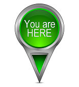 green you are here map pointer – 3d illustration