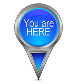 glossy blue you are here map pointer – 3D illustration