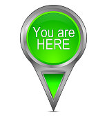 light green you are here map pointer – 3D illustration