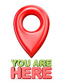 You are here red map pointer 3D rendering illustration isolated on white background
