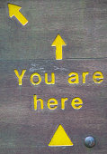 Simple yellow lettering on wood 'you are here' sign you can use in a number of ways. Use on your website, facebook page or print and use as an arrival sign for your event.