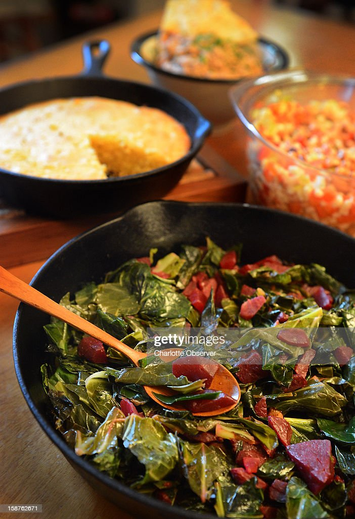 You can take a few shortcuts to a simple Southern New Year feast. Here, collards with beets, cornbread, black-eyed pea salad and black-eyed pea hummus.