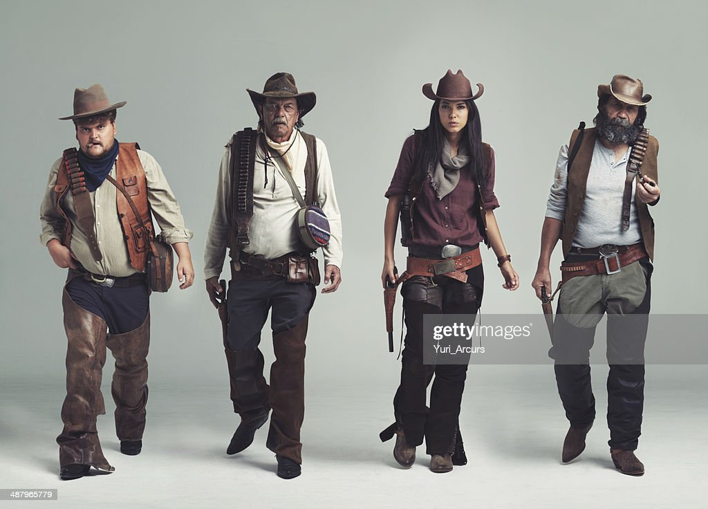You won't find a more diabolical band of outlaws! : Stock Photo