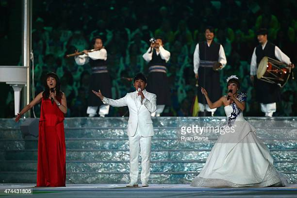 Youn Sun Nah Lee SeungChul and Jo Sumi perform during the Pyeongchang 2018 presentation as part of the 2014 Sochi Winter Olympics Closing Ceremony at...