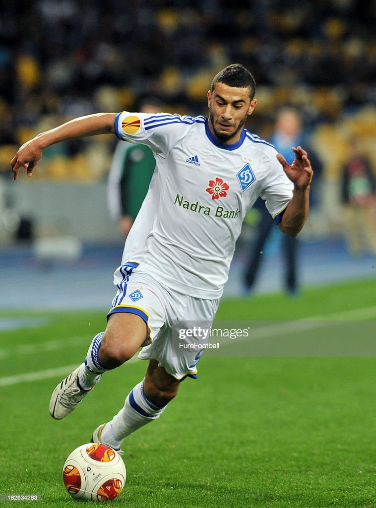 Younes Belhanda of FC Dynamo Kyiv in action during the UEFA Europa League group stage match between FC Dynamo Kyiv and KRC Genk held on September 19, 2013 at the Olympic Stadium, in Kiev, Ukraine.