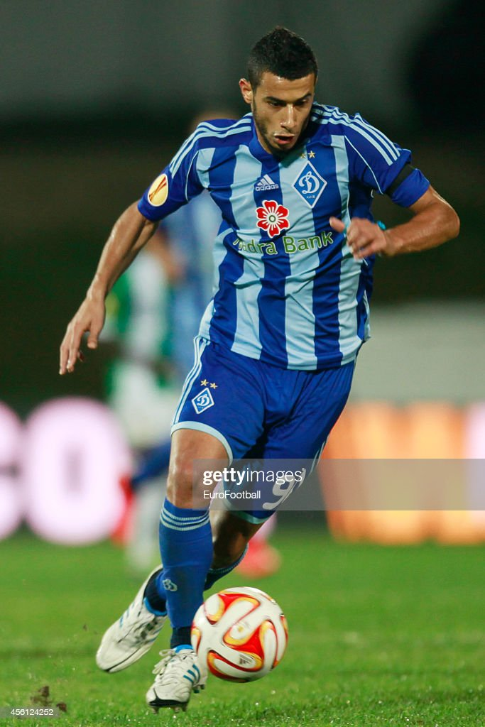Younes Belhanda of FC Dynamo Kyiv in action during the UEFA Europa League Group J match between Rio Ave FC and FC Dynamo Kyiv at the Dos Arcos Stadium on September 18, 2014 in Vila do Conde,Portugal.