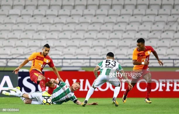 Younes Belhanda of Galatasaray in action during the Turkish Super Lig soccer match between Atiker Konyaspor and Galatasaray at Konya Metropolitan...