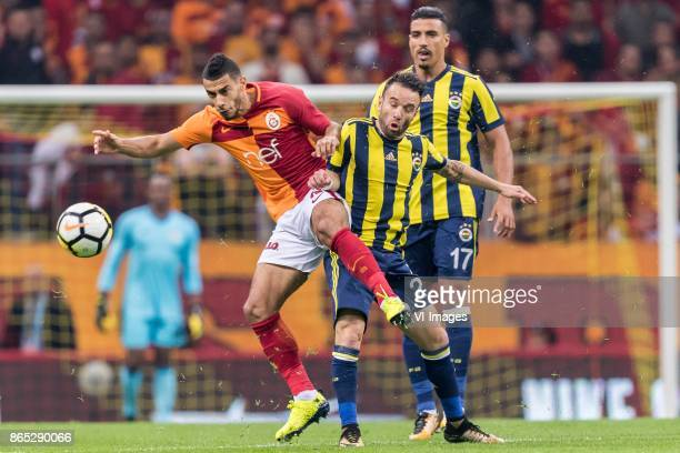 Younes Belhanda of Galatasaray SK Mathieu Valbuena of Fenerbahce SK during the Turkish Spor Toto Super Lig football match between Galatasaray SK and...