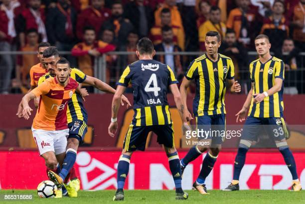 Younes Belhanda of Galatasaray SK Nabil Dirar of Fenerbahce SK Mauricio Isla of Fenerbahce SK Josef de Souza Dias of Fenerbahce SK Roman Neustadter...