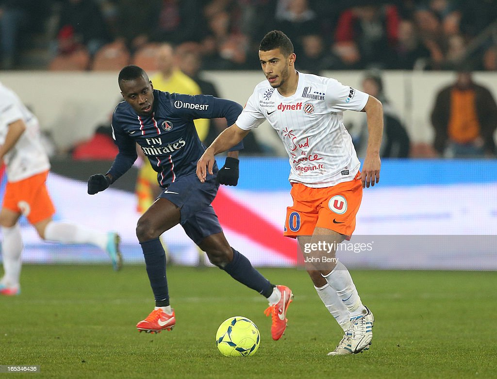 Younes Belhanda of Montpellier in action during the french Ligue 1 match between Paris Saint-Germain FC and Montpellier Herault SC at the Parc des Princes stadium on March 29, 2013 in Paris, France.