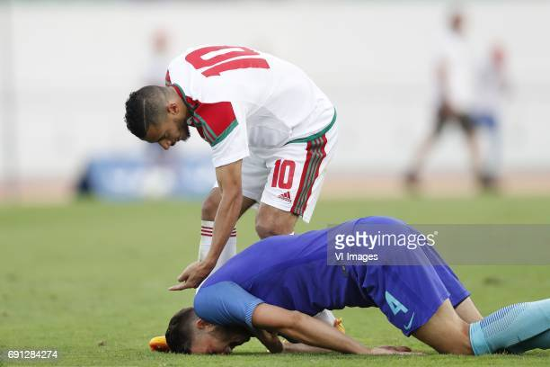 Younes Belhanda of Morocco Wesley Hoedt of Hollandduring the friendly match between Morocco and The Netherlands at Grand Stade Adrar on May 31 2017...