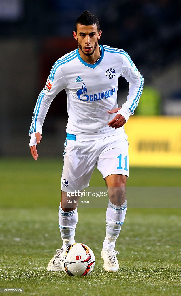 Younes Belhanda of Schalke runs with the ball during the friendly match between Arminia Bielefeld and Schalke 04 at Schueco Arena on January 18, 2016 in Bielefeld, Germany.