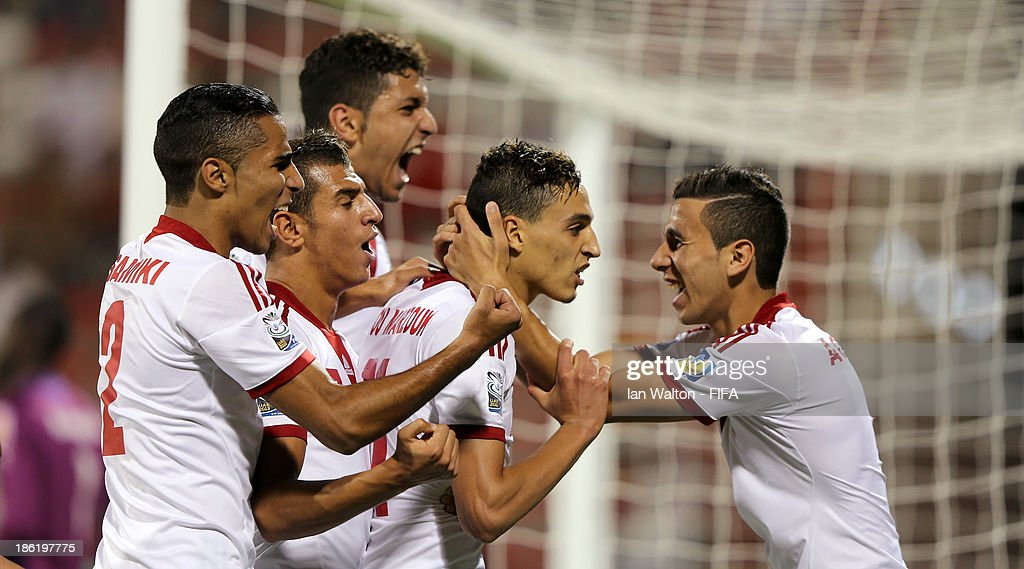 Younes Bnou Marzouk of Morocco celebrates after scoring a goal during the Round of 16 match of the FIFA U-17 World Cup between Morocco and Ivory Coast at Fujairah Stadium on October 29, 2013 in Fujairah, United Arab Emirates.