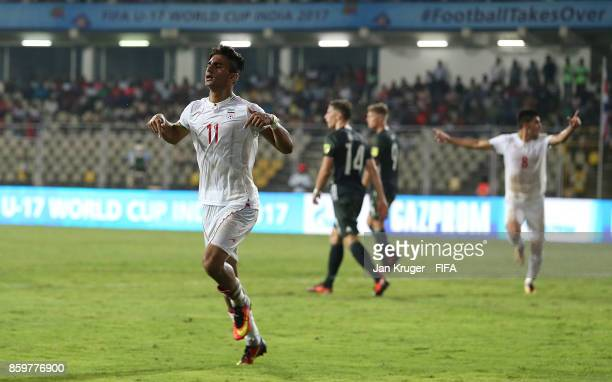 Younes Delfi of Iran celebrates his second goal during the FIFA U17 World Cup India 2017 group C match between Iran and Germany at Pandit Jawaharlal...