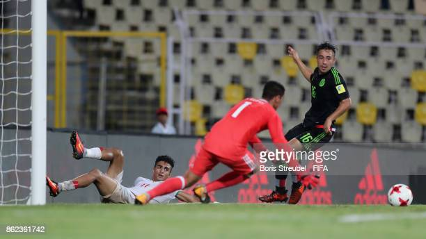 Younes Delfi of Iran flanks the ball during the FIFA U17 World Cup India 2017 Round of 16 match between Iran and Mexico at Pandit Jawaharlal Nehru...