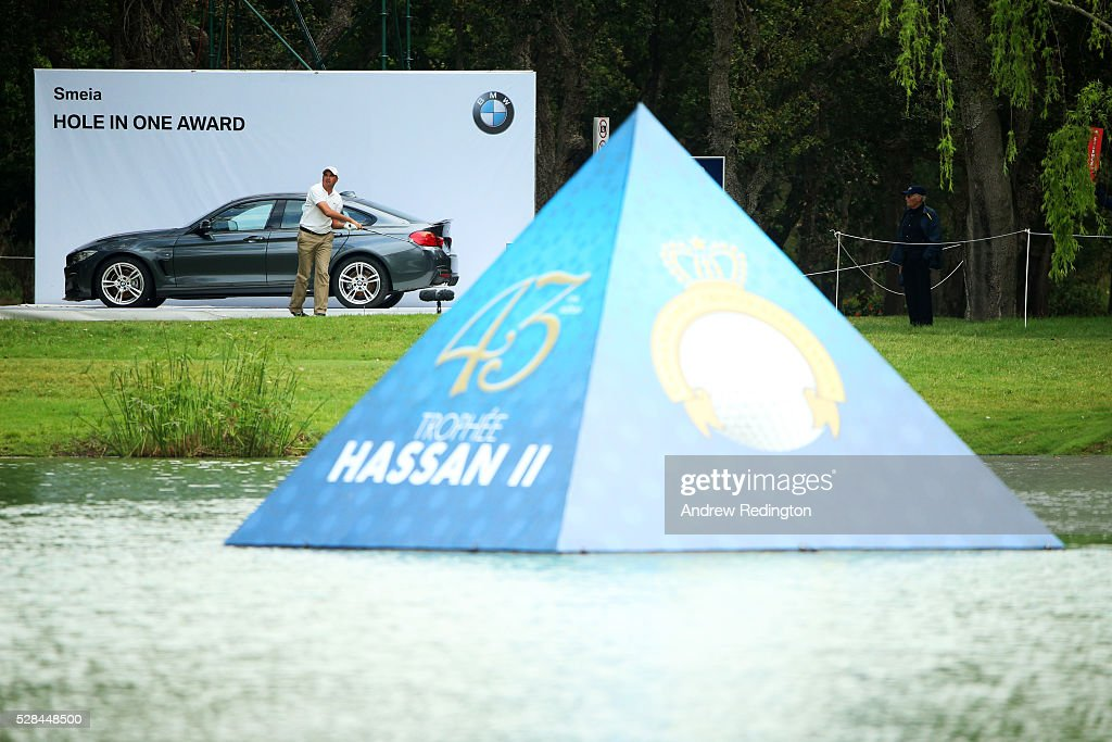 Younes El Hassani of Morocco hits his tee shot on the 9th during the first round of the Trophee Hassan II at Royal Golf Dar Es Salam on May 5, 2016 in Rabat, Morocco.