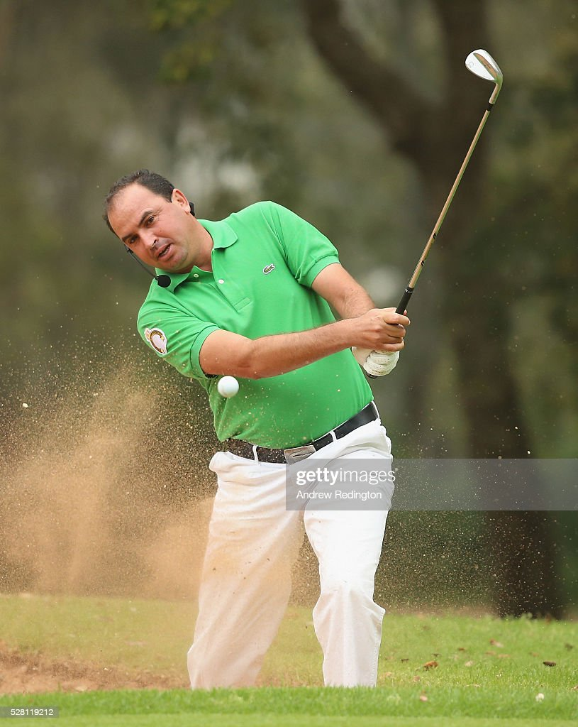 Younes El Hassani of Morocco in action during a mixed exhibition match prior to the start of the Trophee Hassan II at Royal Golf Dar Es Salam on May 4, 2016 in Rabat, Morocco.