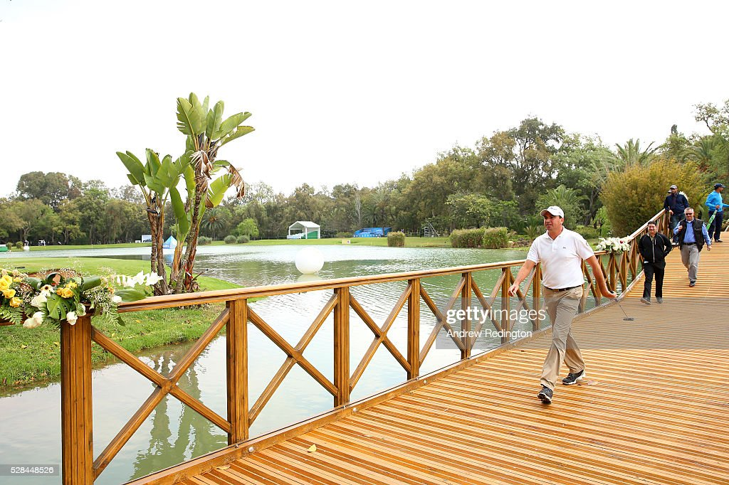 Younes El Hassani of Morocco walks to the green on the 9th during the first round of the Trophee Hassan II at Royal Golf Dar Es Salam on May 5, 2016 in Rabat, Morocco.