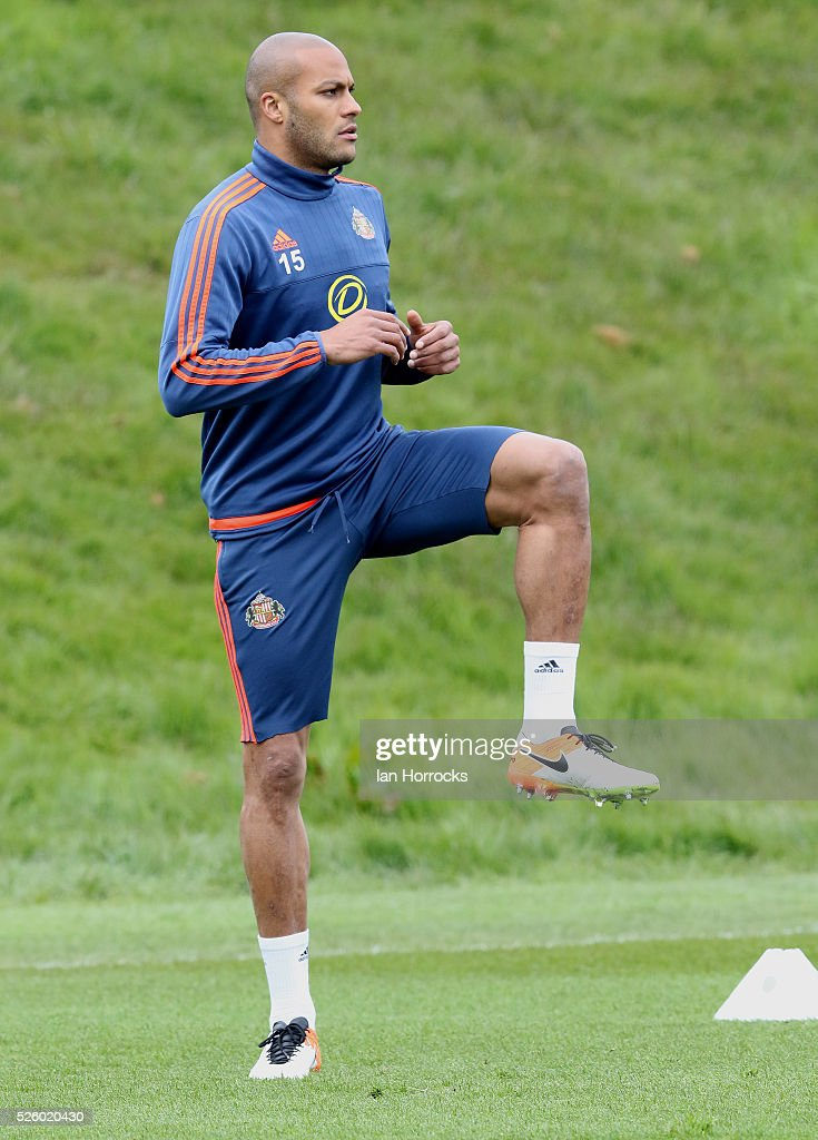 Younes Kaboul during a Sunderland AFC training session at The Academy of Light on April 29, 2016 in Sunderland, England.