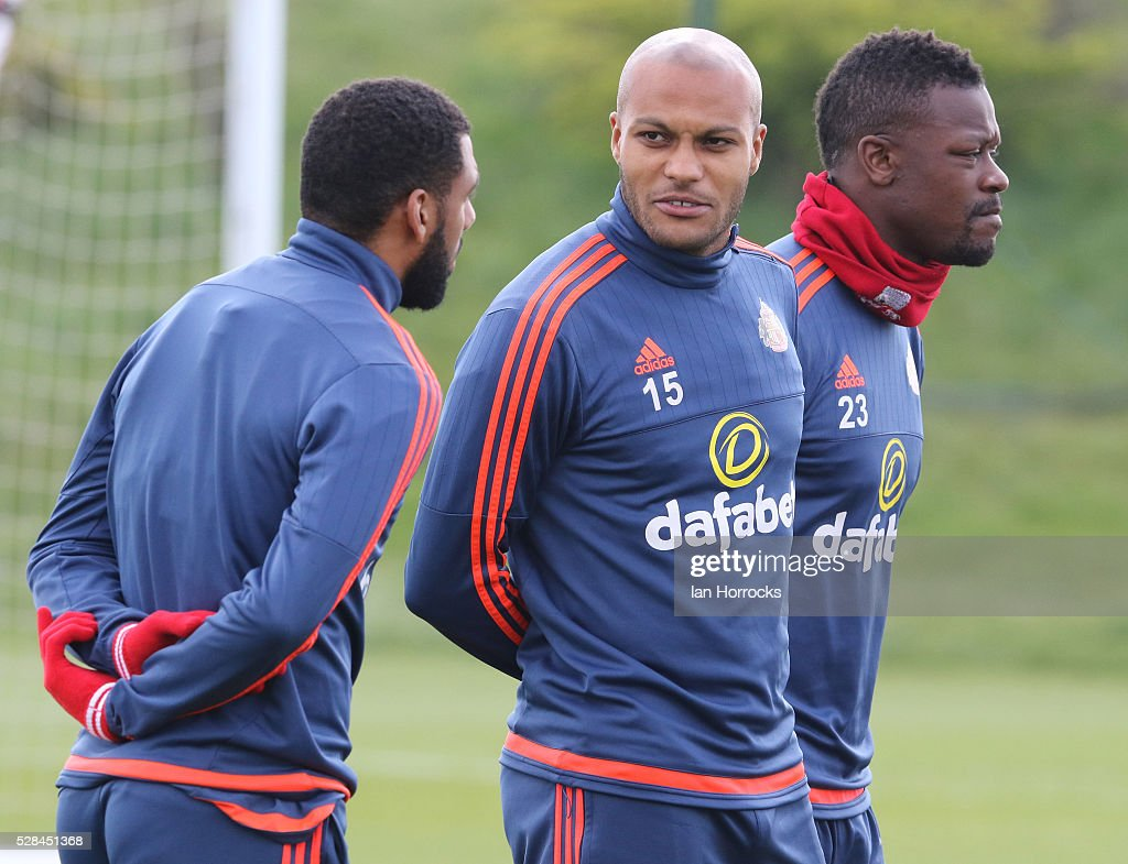 Younes Kaboul (C) during a Sunderland training session at The Academy of Light on May 5, 2016 in Sunderland, England.